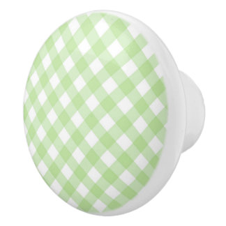 Ceramic Drawer/Door Pull - Spring Green Lattice Ceramic Knob