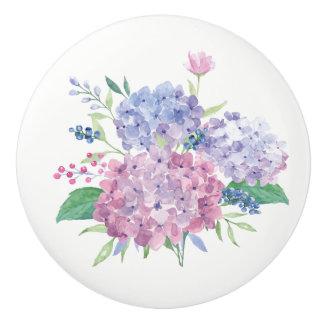 Ceramic Drawer Pull - Watercolor Hydrangeas