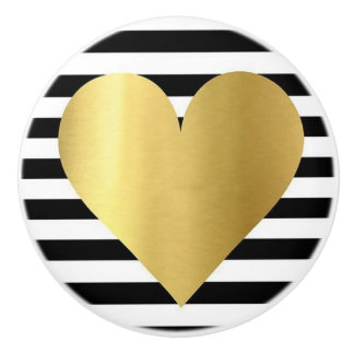 Ceramic Knob/Gold Heart-Black and White Stripes Ceramic Knob