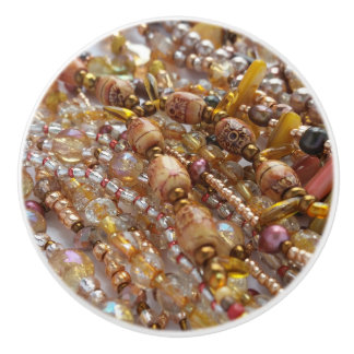 Ceramic Knob- Natural Earth Tones Beads Print Ceramic Knob