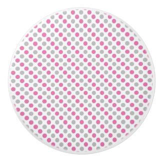 Ceramic Knob/Pink and Gray Polka Dots Ceramic Knob