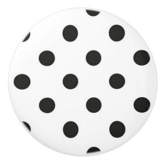 Ceramic Knob - White with Black Polka Dots
