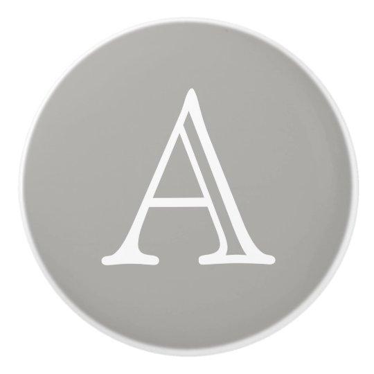 Ceramic Letter Knob Grey Ceramic Knob