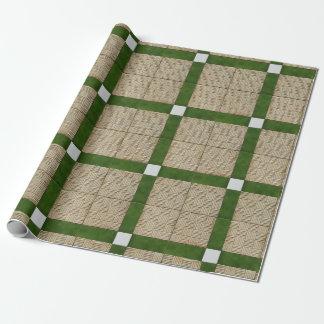 Ceramic Mediterranean Tiles Green Grey Wrapping Paper
