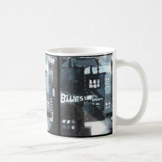 Ceramic Mug with Contemporary Art Decor: Blues