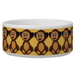 Ceramic Pet Bowl, Graphic Monkey Pet Bowl