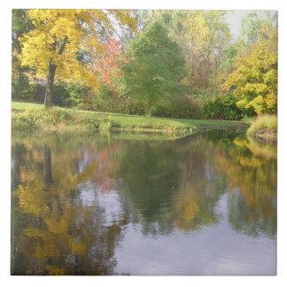 CERAMIC TILE /BUCOLIC POND/TREES REFLECTED/PHOTOG.