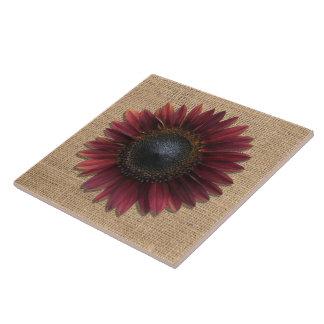 Ceramic Tile - Burlap and Bordeaux Sunflowers