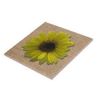 Ceramic Tile - Burlap and Rain-Drenched Sunflowers
