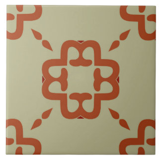 Ceramic Tile- Coral and Red Pattern on Beige Tiles