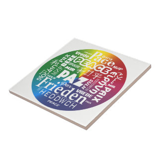 Ceramic tile display Peace Paz Pax multilingual