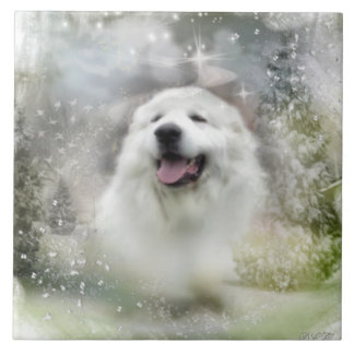 Ceramic Tile Great Pyrenees Winter Scene