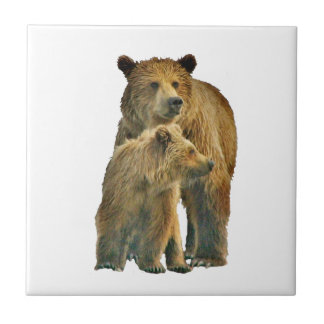 Ceramic Tile of grizzly bear & cub