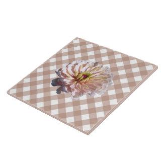Ceramic Tile - Palest Pink Zinnia on Lattice