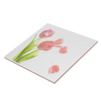 Ceramic tile Pink Tulip  flower Retr trivet or box