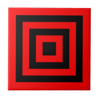 CERAMIC TILE - RED BLACK SQUARES