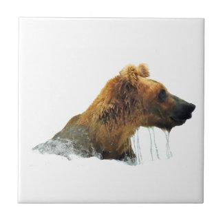 Ceramic tile w/ grizzly bear