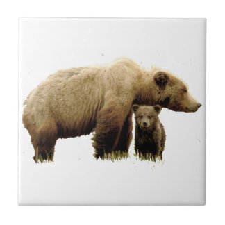 Ceramic tile w/ grizzly bear & cub