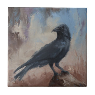 Ceramic Tile with Crow