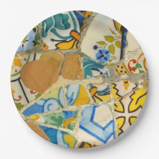 Ceramic Tiles in Parc Guell in Barcelona Spain 9 Inch Paper Plate