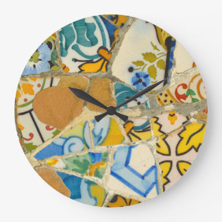 Ceramic Tiles in Parc Guell in Barcelona Spain Clock