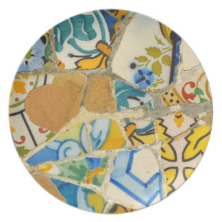 Ceramic Tiles in Parc Guell in Barcelona Spain Party Plates