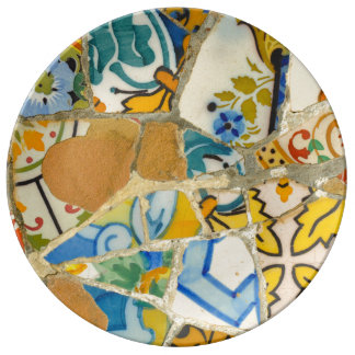 Ceramic Tiles in Parc Guell in Barcelona Spain Porcelain Plate