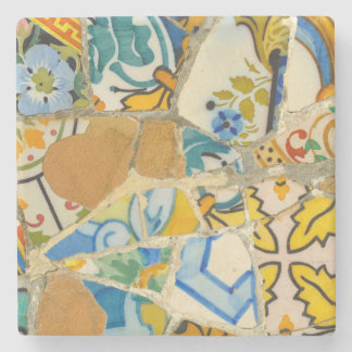 Ceramic Tiles in Parc Guell in Barcelona Spain Stone Coaster
