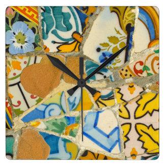 Ceramic Tiles in Parc Guell in Barcelona Spain Wallclock