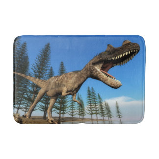 Ceratosaurus dinosaur at the shoreline - 3D render Bath Mat