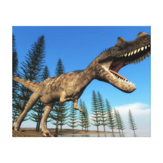 Ceratosaurus dinosaur at the shoreline - 3D render Canvas Print