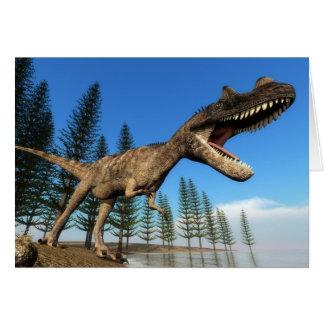 Ceratosaurus dinosaur at the shoreline - 3D render Card