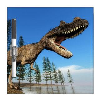 Ceratosaurus dinosaur at the shoreline - 3D render Dry Erase Board