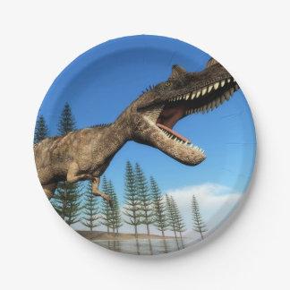 Ceratosaurus dinosaur at the shoreline - 3D render Paper Plate