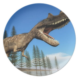 Ceratosaurus dinosaur at the shoreline - 3D render Plate