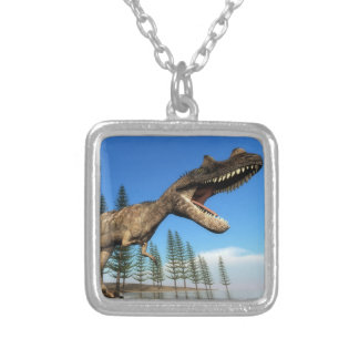 Ceratosaurus dinosaur at the shoreline - 3D render Silver Plated Necklace