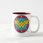 Cercle de femme de merveille et logo d'étoiles mugs