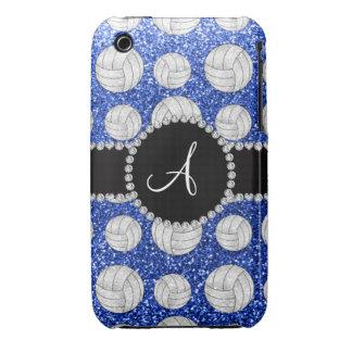 Cercle noir de volleyballs bleus de scintillement étuis iPhone 3