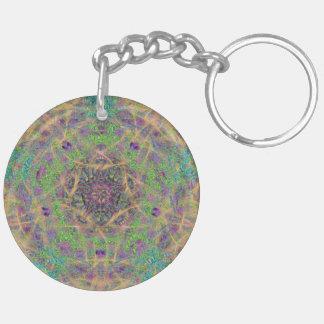 Cercle paisible de zen porte-clé rond en acrylique double face