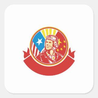 Cercle pilote de drapeau des Etats-Unis Chine de Sticker Carré