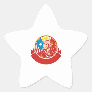 Cercle pilote de drapeau des Etats-Unis Chine de Sticker Étoile