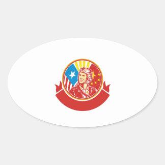 Cercle pilote de drapeau des Etats-Unis Chine de Sticker Ovale