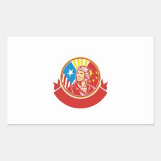 Cercle pilote de drapeau des Etats-Unis Chine de Sticker Rectangulaire