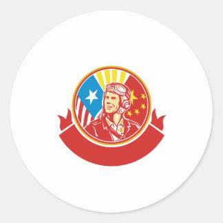 Cercle pilote de drapeau des Etats-Unis Chine de Sticker Rond