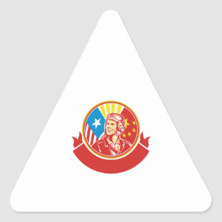 Cercle pilote de drapeau des Etats-Unis Chine de Sticker Triangulaire