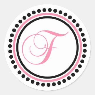 Cercle rose-clair/noir de monogramme de F (de Sticker Rond