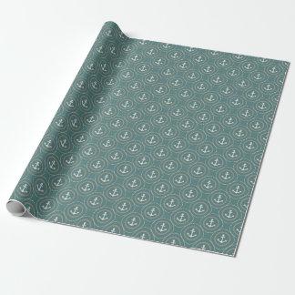Cercles foncés nautiques de marin de vert sauge papier cadeau noël