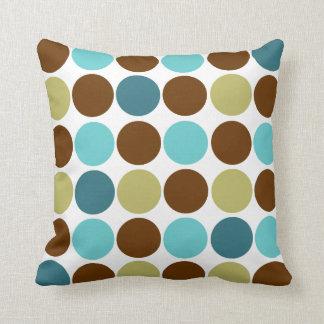 Cercles - olive bleue et motif équilibré brun oreillers