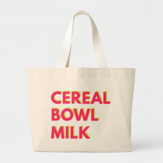 Cereal, Bowel, Milk Large Tote Bag