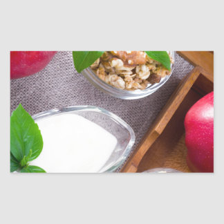 Cereal with walnuts and raisins, yogurt and apples